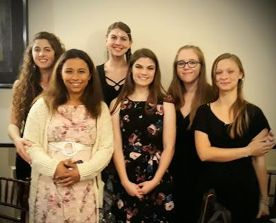 """A few of our Courageous Beauties at Family Hope Center's 25th Annual Fund """"Raising Hope"""" Banquet in October 2019. Courageous Beauty is just one of many programs and services that Family Hope Center offers. Varick Supervisor Bob Hayssen, who was recently voted County Board of Supervisors chair."""
