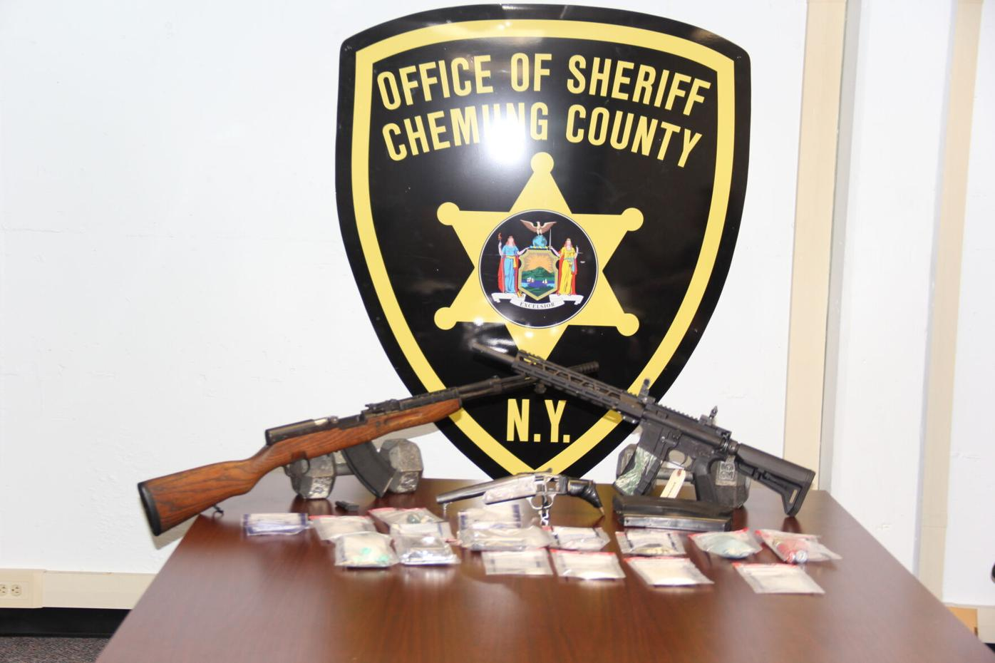 The Chemung County Sheriff's Office arrested Michael S. Goodwin of Southport after Deputies discovered 50 grams of methamphetamine, a quantity of psilocybin mushrooms, an AR-15 assault rifle and a large capacity, ammunition feeding device in his vehicle.