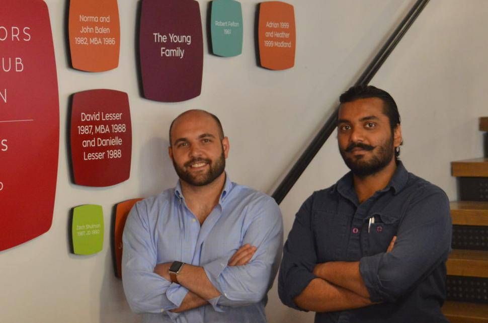 Mike Anunziata and Vipul Siran. Right: Nightime activity at eHub's space on College Avenue.