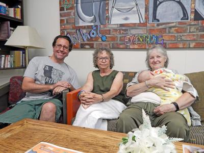 Members of The Real Listening Group at the Dryden Community Center Cafe Aug. 2. (Left to right: Mike Bishop, Heidi Goldstein and Anne Rhodes.