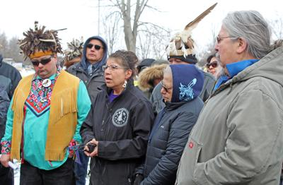Members of the Cayuga Nation in Seneca County gather in March 2020 at a news conference after the Clint Halftown-led faction, alongside the recently-formed Cayuga Nation Police Department, allegedly demolished 12 buildings near the intersection of State Route 89 and Garden Street Extension. The Seneca County Board of Supervisors took a surprising step at its meeting Tuesday, Aug. 10, passing a Rule 29, which resulted in significant debate and a possible new avenue for settling its ongoing dispute with the Cayuga Nation.