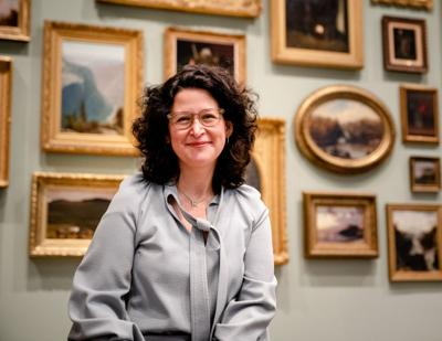 Jessica Levin Martinez, the new Johnson Museum of Art director, among one of the building's many displays.