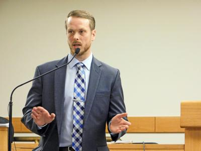 Ryan Garrison of Hunt EAS Engineering presents the findings from the company's study on a potential municipal broadband service in the Town of Dryden at a meeting on Nov. 21.