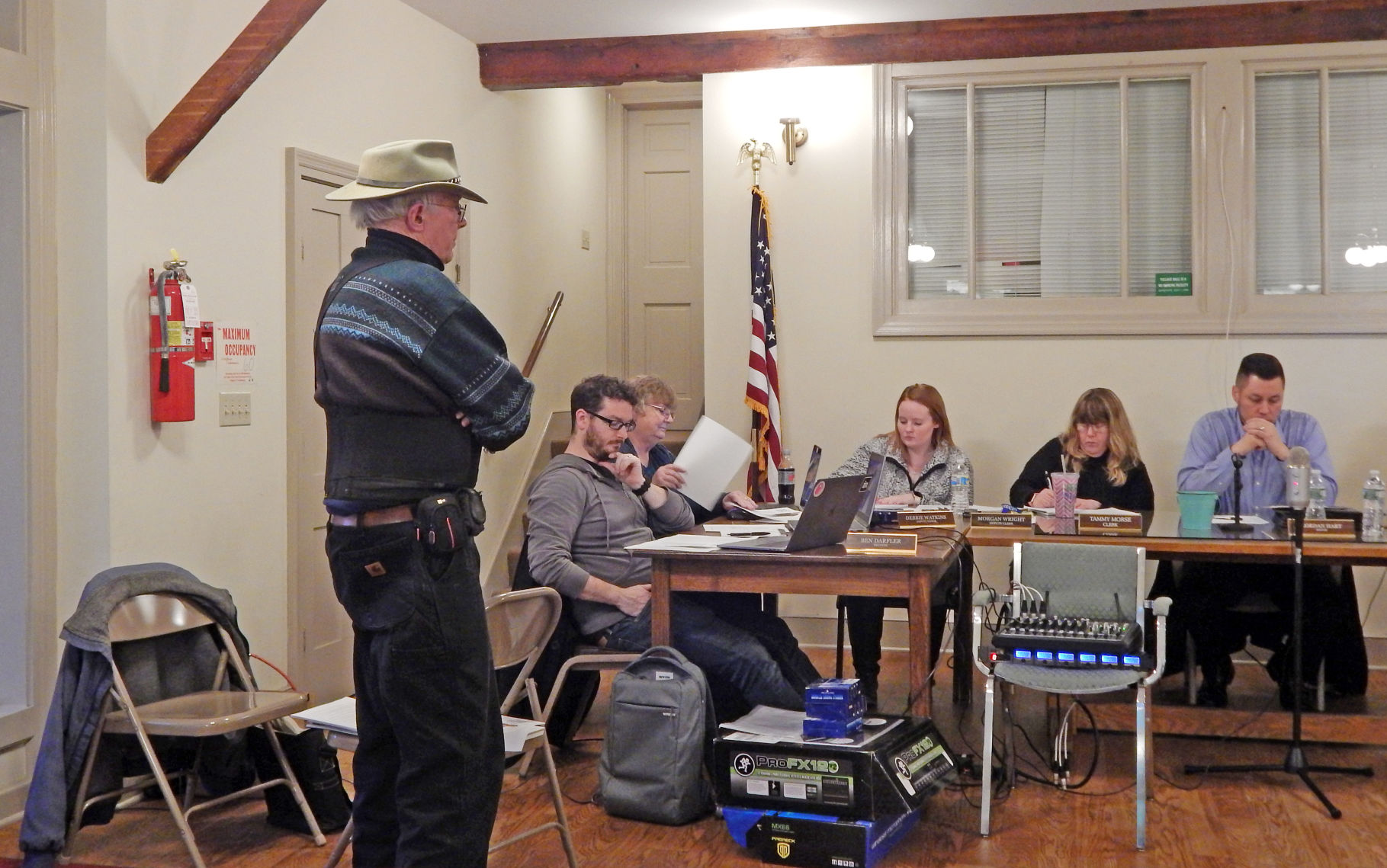 Jules Burgevin, 85, of Trumansburg, tells the Trumansburg Village Board of Trustees May 13 about a new committee he is forming called the West Cayuga Lake Committee for the Prevention of Nuclear War and the Admonition of Nuclear Weapons.