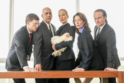 """The cast of Cherry Arts' production of """"George Kaplan,"""" plus the French play's break-out star, the chicken."""