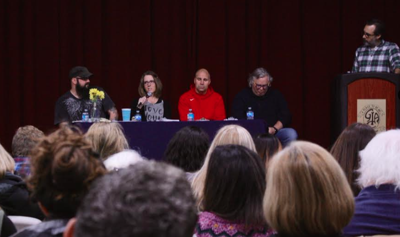 Panelists at a discussion on homelessness at the Greater Ithaca Activities Center over the weekend.