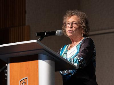 Heidi Goldstein speaks at the Women's Fund Celebration on Oct. 17. Goldstein is the recipient of the 2019 Laura Holmberg Award for her work in the community.