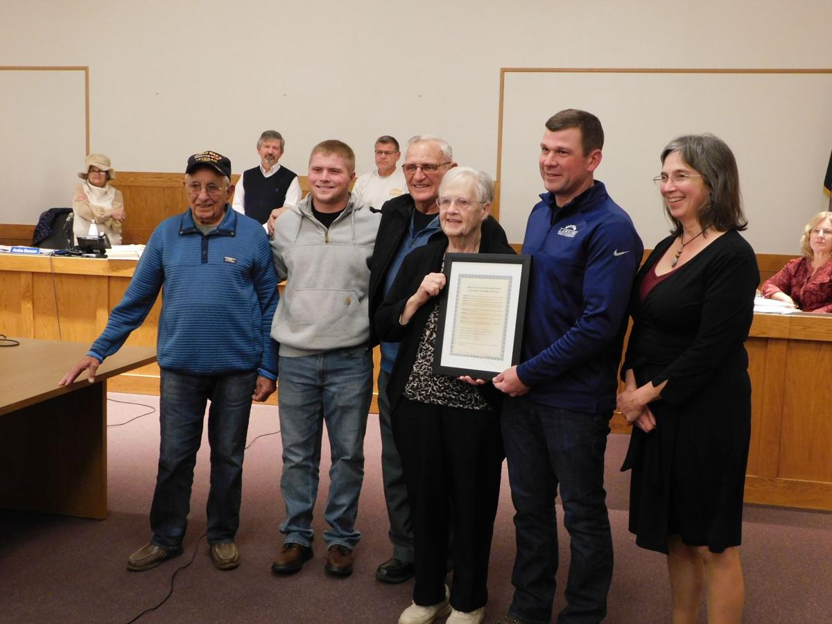 From left to right: Gus Isaac, Owen Davis, Wayne Straw, Doris Straw, Patrick Tyrrell and Katrina Binkewicz. Doris Straw was honored for her volunteer efforts with beautifying Myers Park.