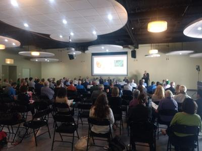 Attendees pack the Space @ Greenstar for a presentation on Cornell's geothermal plans.
