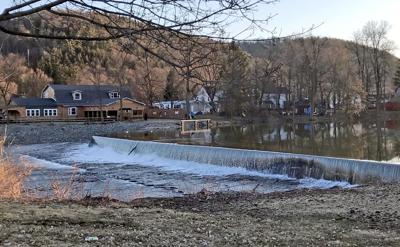 The Town of Candor is still waiting on federal funds from FEMA in the form of reimbursement for the new dam, pictured here in late March.