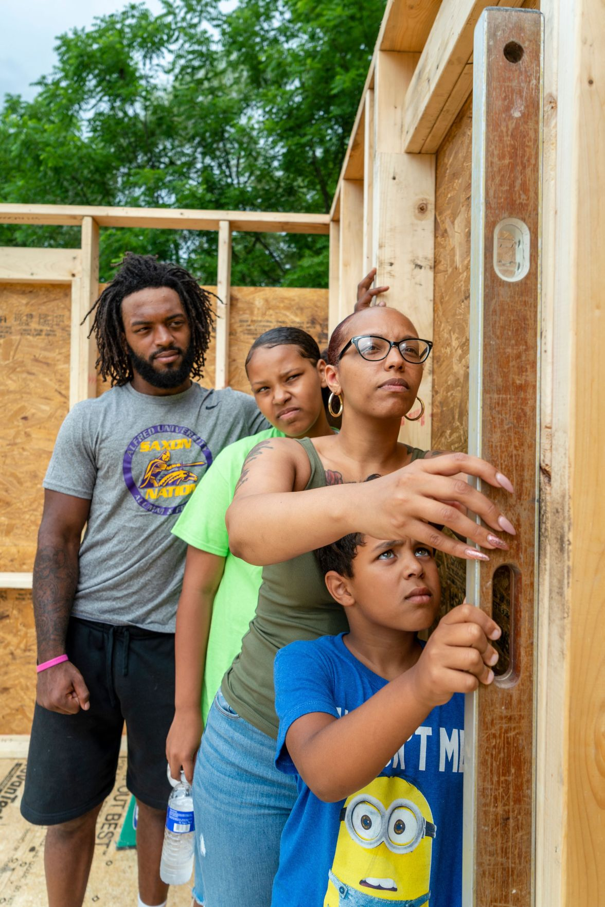 The team working on a Habitat for Humanity house.