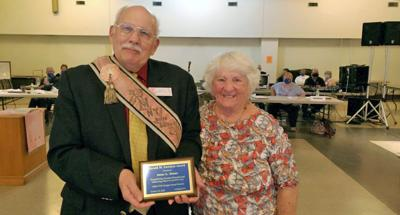 New York State Grange President, Stephen Coye (left) presenting the Gerald Eastman Award to Anne Grant (right) at the Annual State Grange Meeting on Oct. 24, 2020.