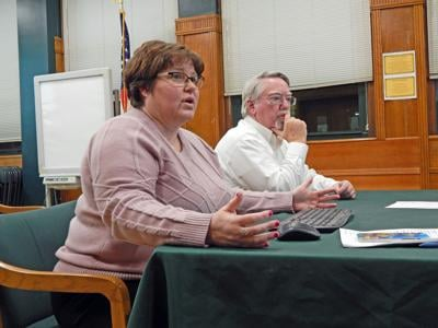 Joseph Reilly, consultant for the Newfield Central School District regarding the Smart Schools Bond Act (SSBA), and Cathy Griggs, Newfield Central School District technology director, at the Dec. 19 meeting of the board of education.