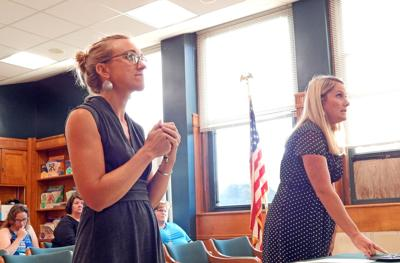Jamie McCaffrey, Newfield schools social worker (left) and Laine Gillette, Newfield Elementary School assistant principal, speak about providing emotional support for students at a meeting of the Newfield Central School Board of Education Sept. 5.