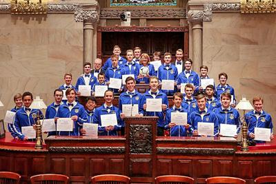 New York State Senator Pamela Helming stands with the Lansing High School boys soccer team on April 30 after honoring the team for winning the NYSPHSAA Class C title at the State Capitol.