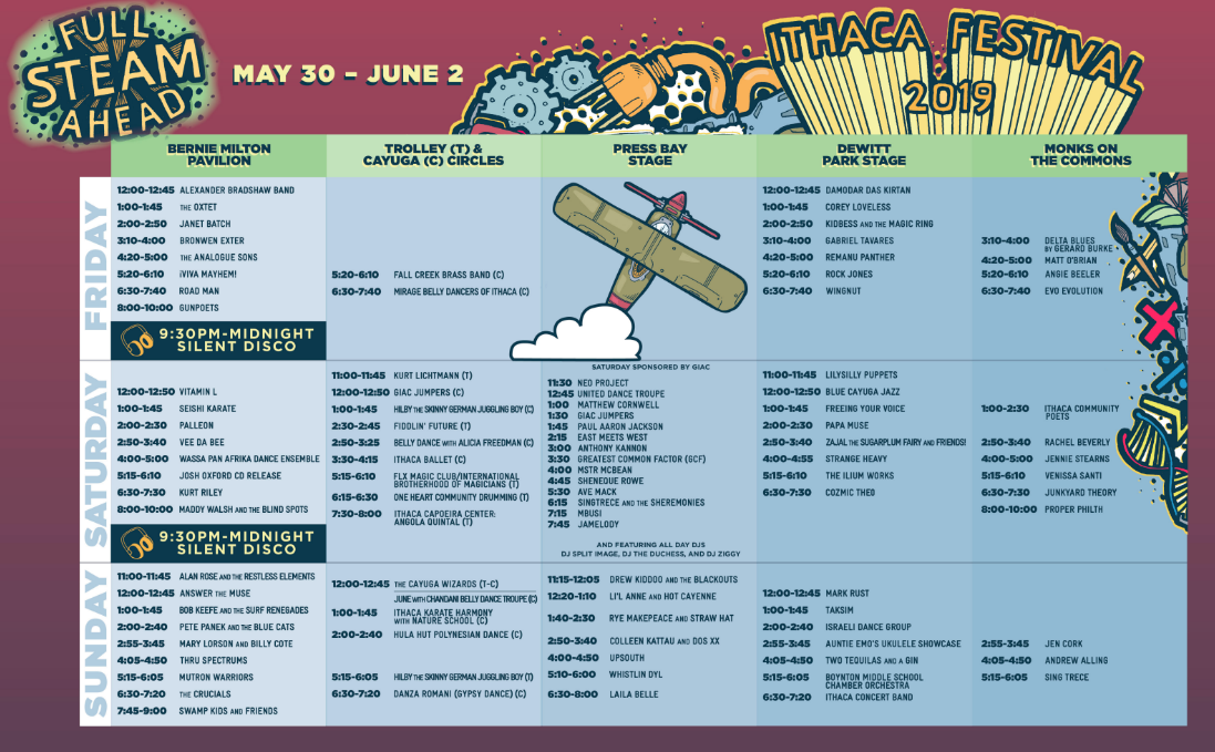 Ithaca Feestival Schedule