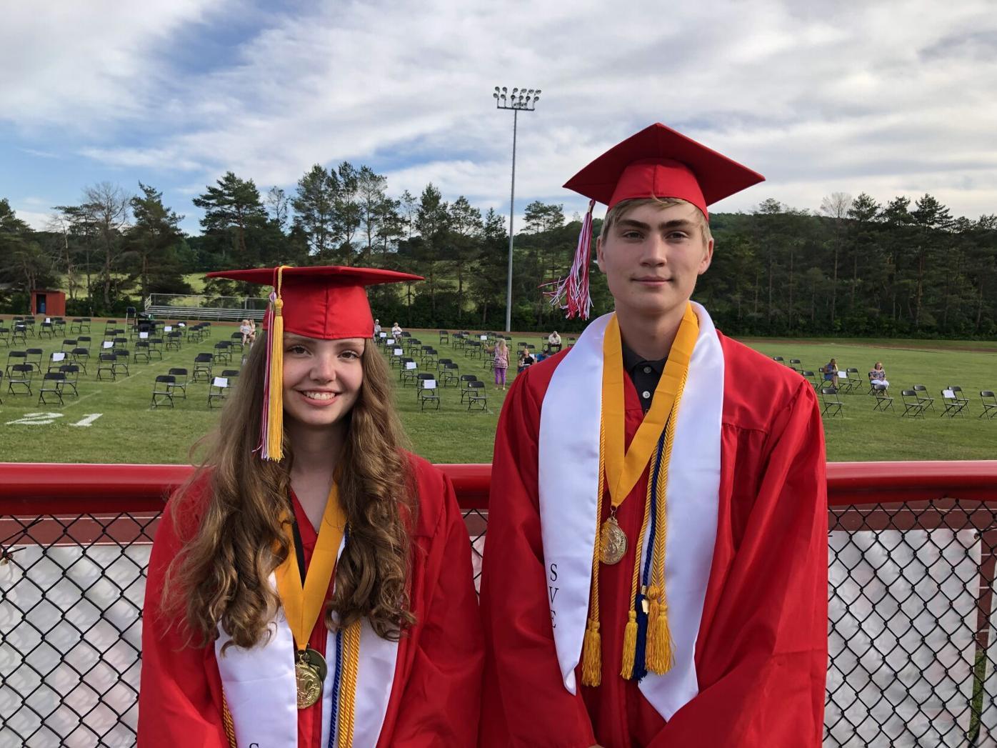 Spencer-Van Etten High School Class of 2021 Valedictorian Cassidy Evans (left) and the class' salutatorian Matthew Byrne (right).