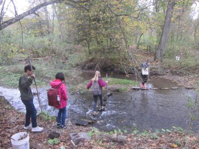 Visitors to Hawk Meadow Farm in Trumansburg traverse a creek. The farm will be part of Farm Trail Weekend Sept. 25.