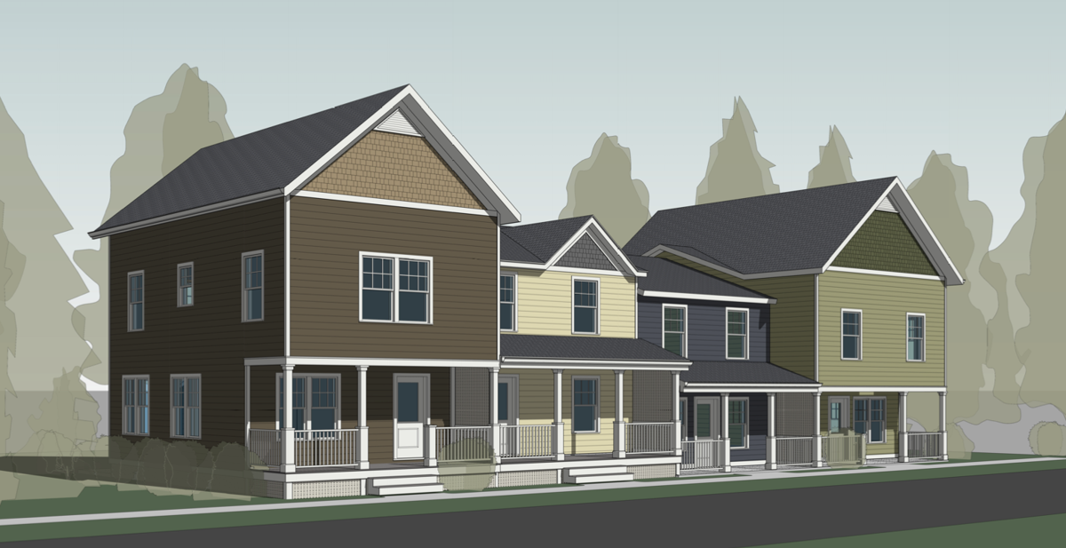 Affordable for-sale townhomes that would be available if Crescent Way in Trumansburg is approved.