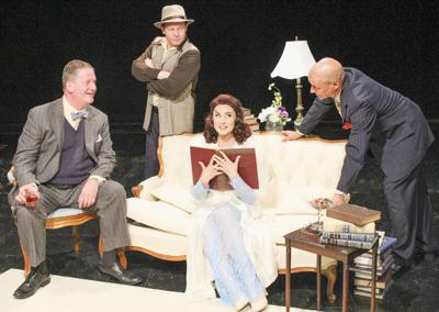"Patrick White as Ed Devery, Michael Antico as Eddie Brock, Briana Gantsweg as Billie Dawn and Bill Coughlin as Harry Brock in Cortland Repertory Theatre's production of  ""Born Yesterday."""
