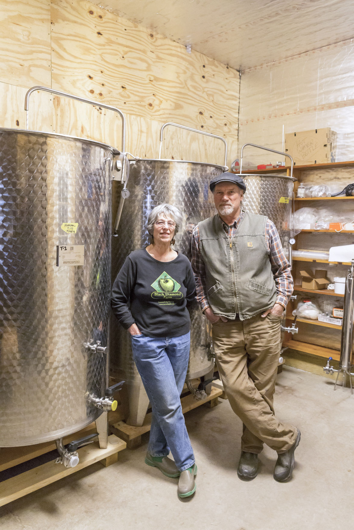 Cidermaking pioneers Jackie and Ian Merwin of Black Diamond Cider in Trumansburg