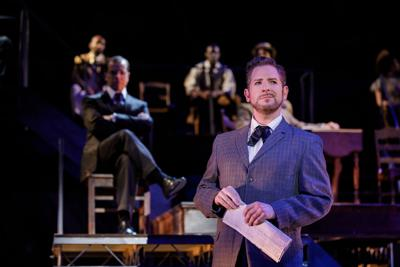 """Hugh Dorsey (Jamison Stern) speaks to the jury in the Finger Lakes Musical Theatre Festival's production of """"Parade."""""""