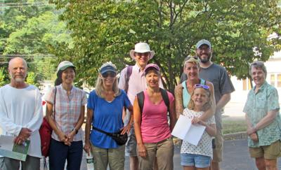 Jason Gorman and Betsey Darlington with some local naturalists who they will be guiding up the Logan Hill Nature Preserve. Even more naturalists were to be meeting them farther up Logan Hill Road. See the story on page 3.