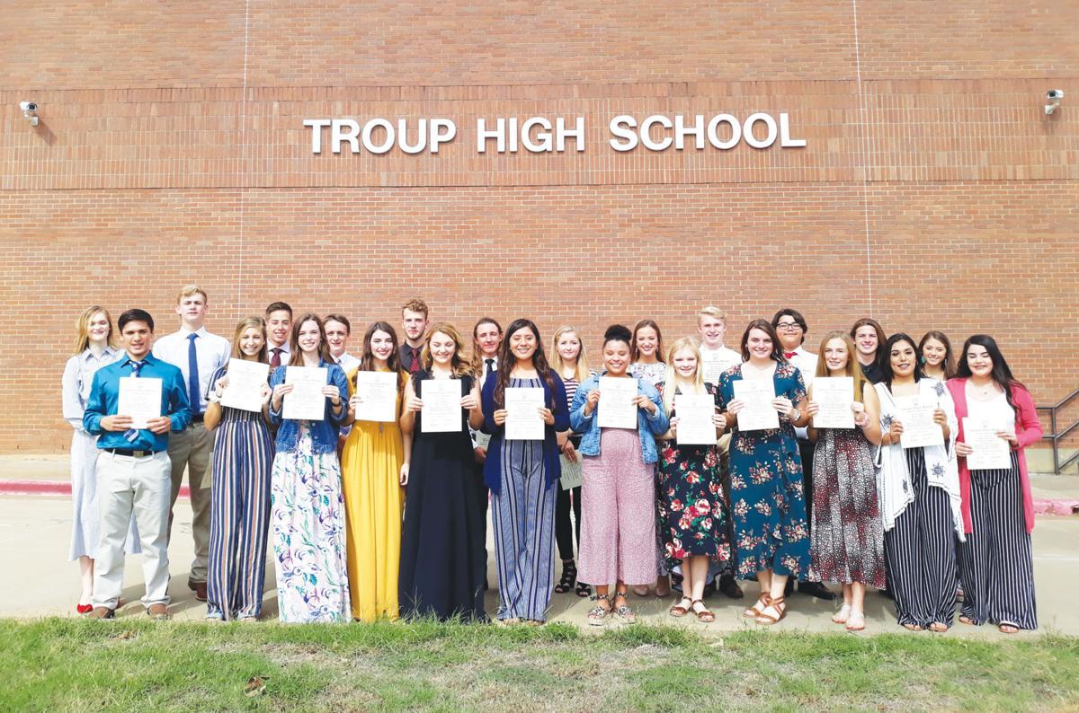 Newest members of Troup High School's NHS