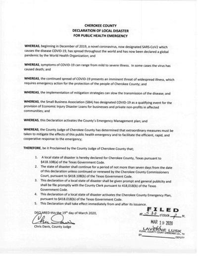 Cherokee County declaration