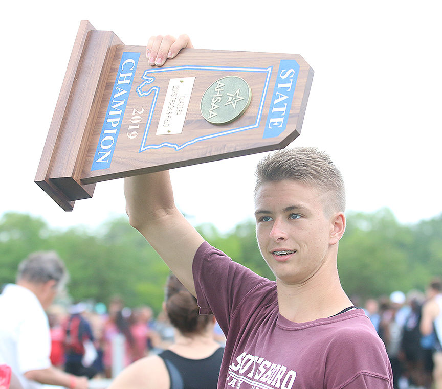Showing off the trophy