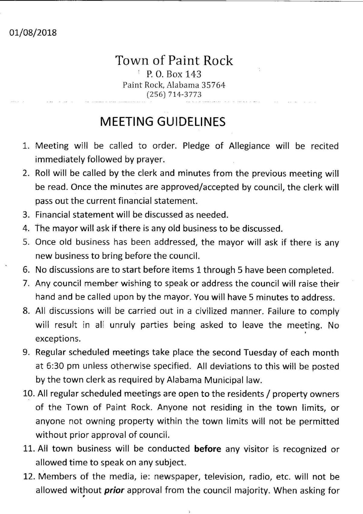 Town of Paint Rock Meeting Guidelines