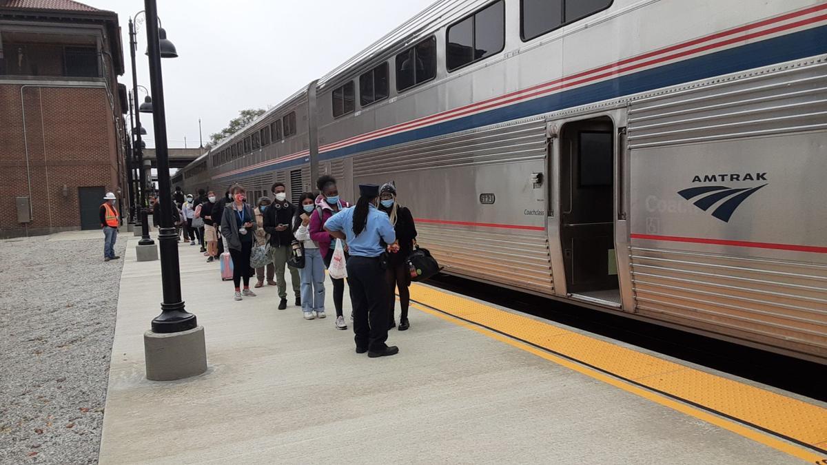 Amtrak boarding