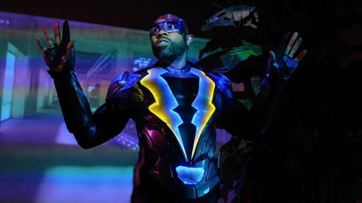 "Cress Williams as Black Lightning in the CW series ""BLack Lightning."""