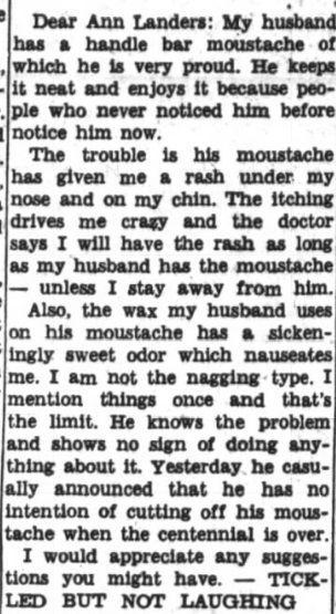 moustache, Ann Landers