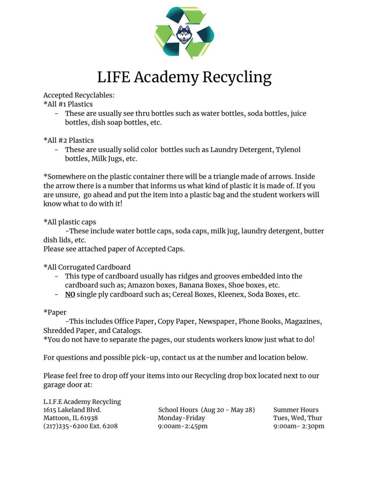 LIFE Academy accepted recyclables