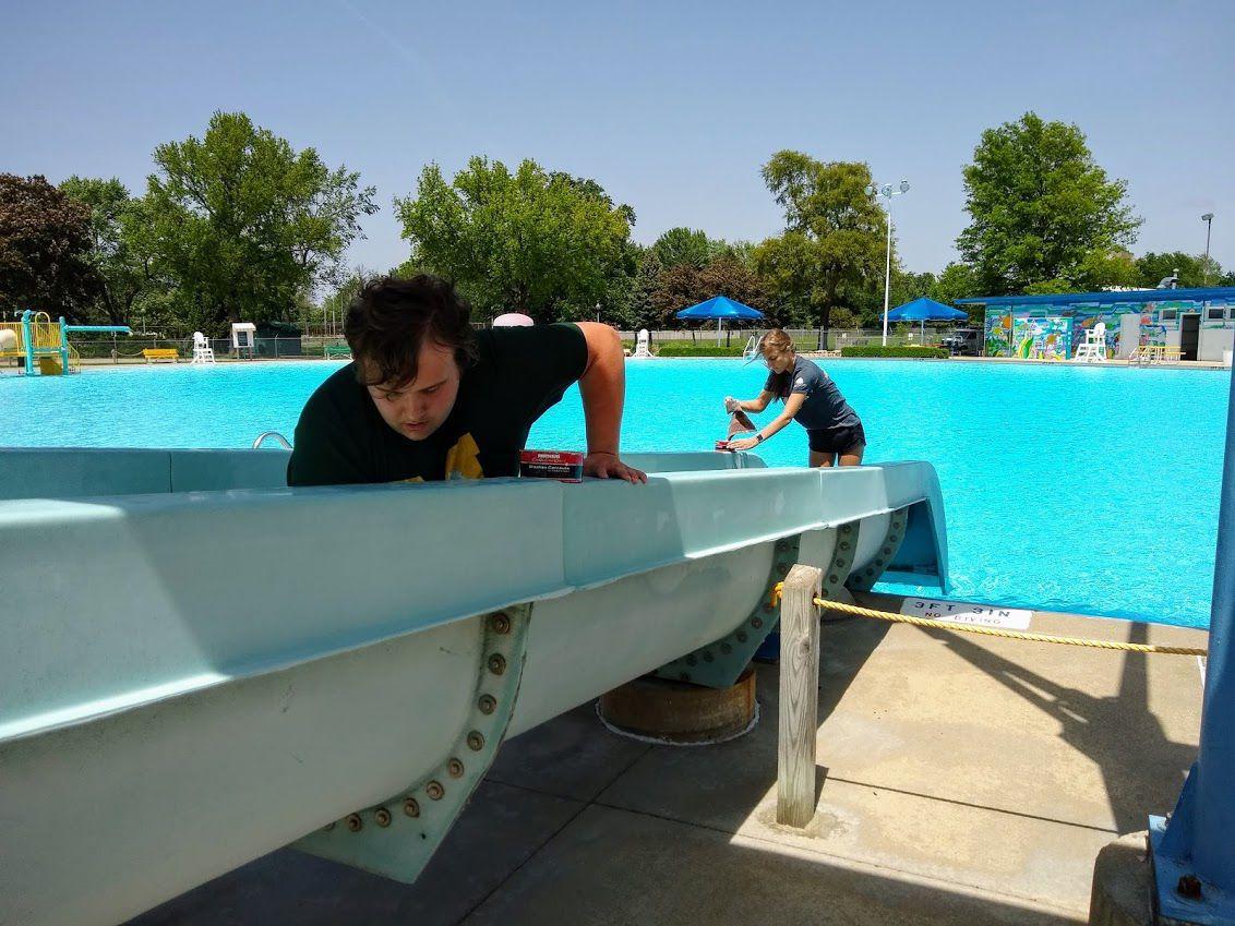 Lytle Pool water slide ready for season