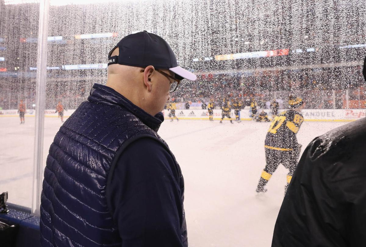 Deputy commissioner Bill Daly checks out the ice conditions prior to the 2019 Coors Light NHL Stadium Series game at the Lincoln Financial Field on Feb. 23, 2019 in Philadelphia, Pa.