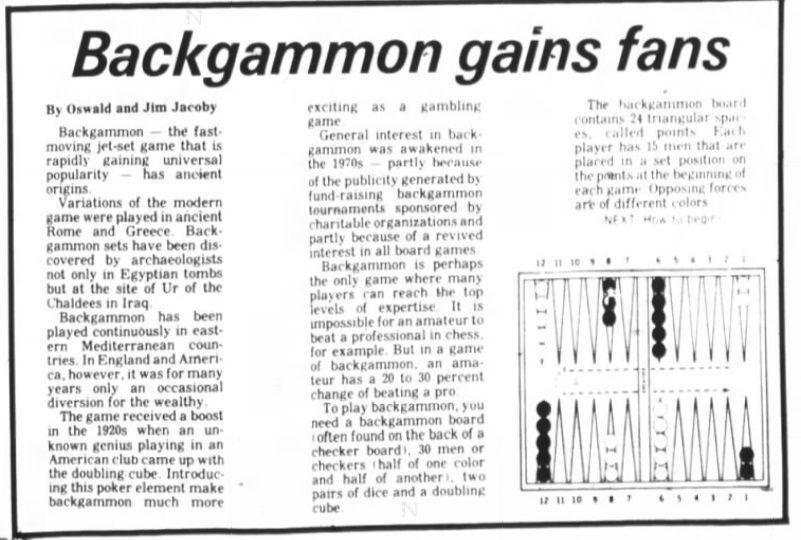 Backgammon column