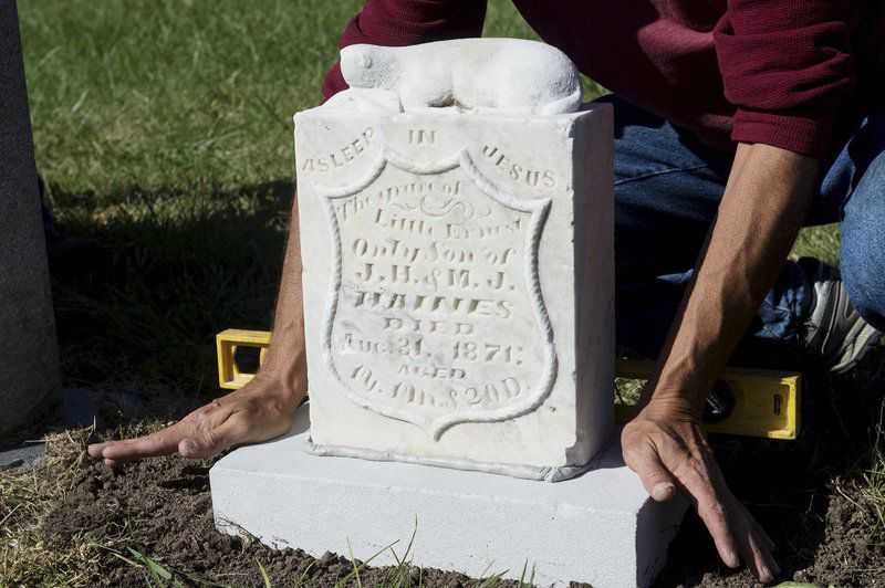 Preservation committee restores gravestone to one of Carthage's oldest cemeteries