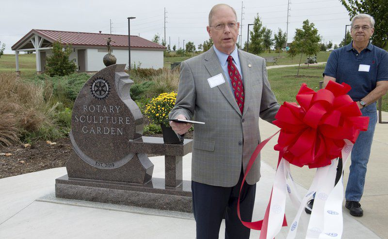 Rotary Sculpture Garden dedicated with ribbon-cutting