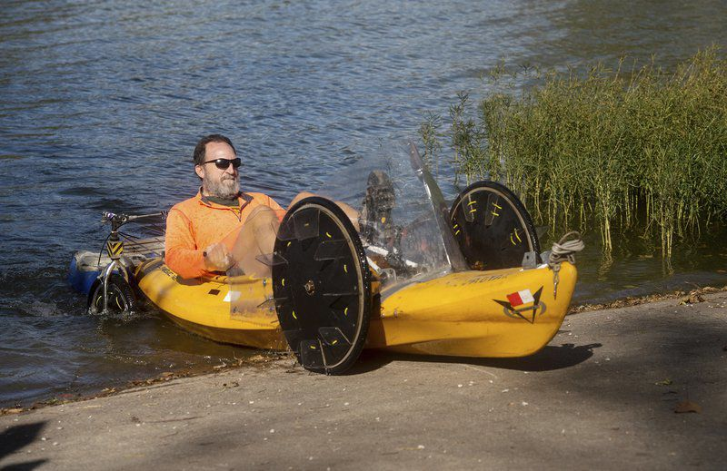 Carthage man determined to finish cross-country ride on amphibious vehicle