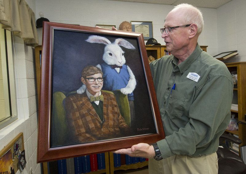 Former thespian receives 'Harvey and Me' painting 47 years ...