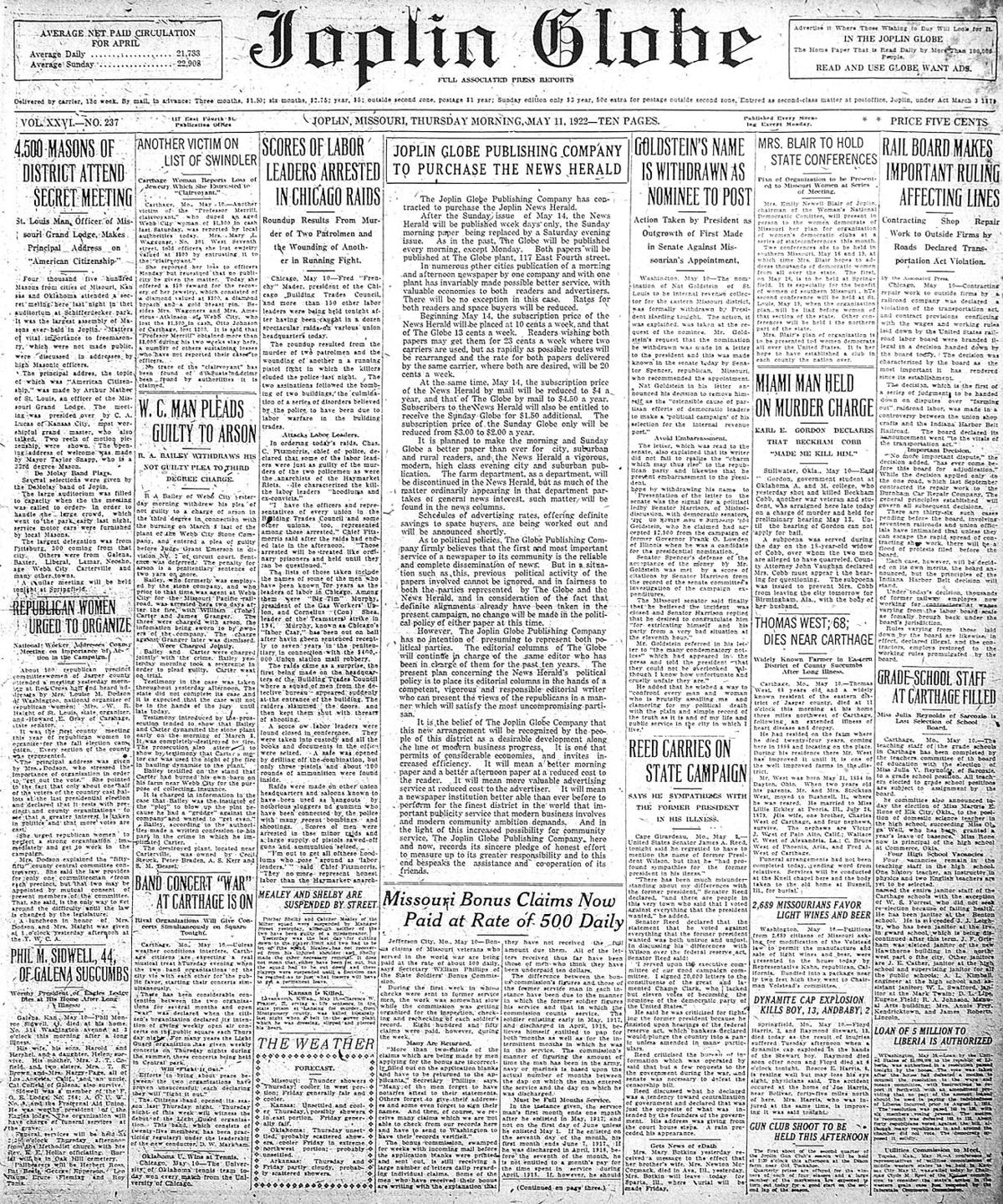 May 11, 1922 front page
