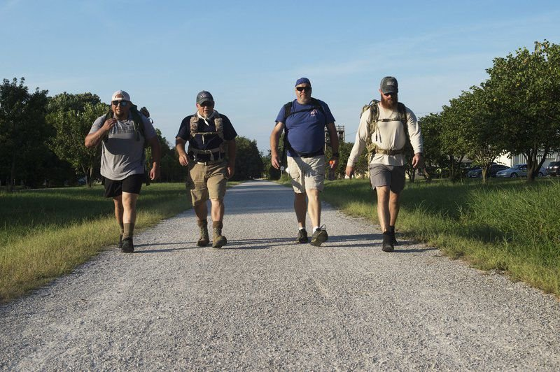 Group preparing for 22-kilometer Ruck March