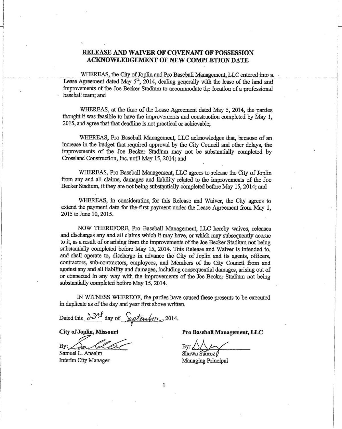 Lease Agreement Between City Of Joplin And Blasters Ownership