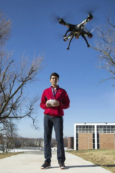 MSSU student using drone in mining district research
