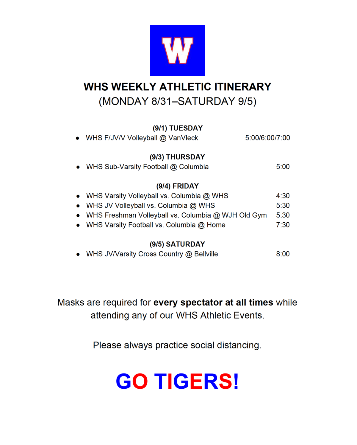 WHARTON ATHLETICS SCHEDULE (AUG. 31-SEPT. 5)