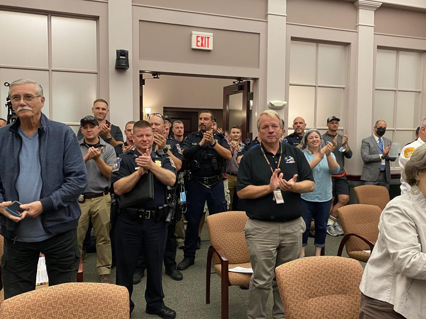 Crowd cheers as Captain Lucas Gallant sworn in