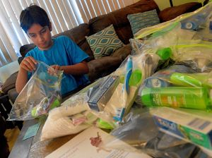SW boy gathers supplies for homeless