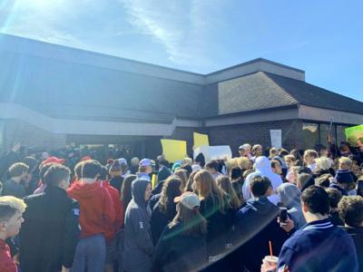 Students at CIAC headquarters protesting decision